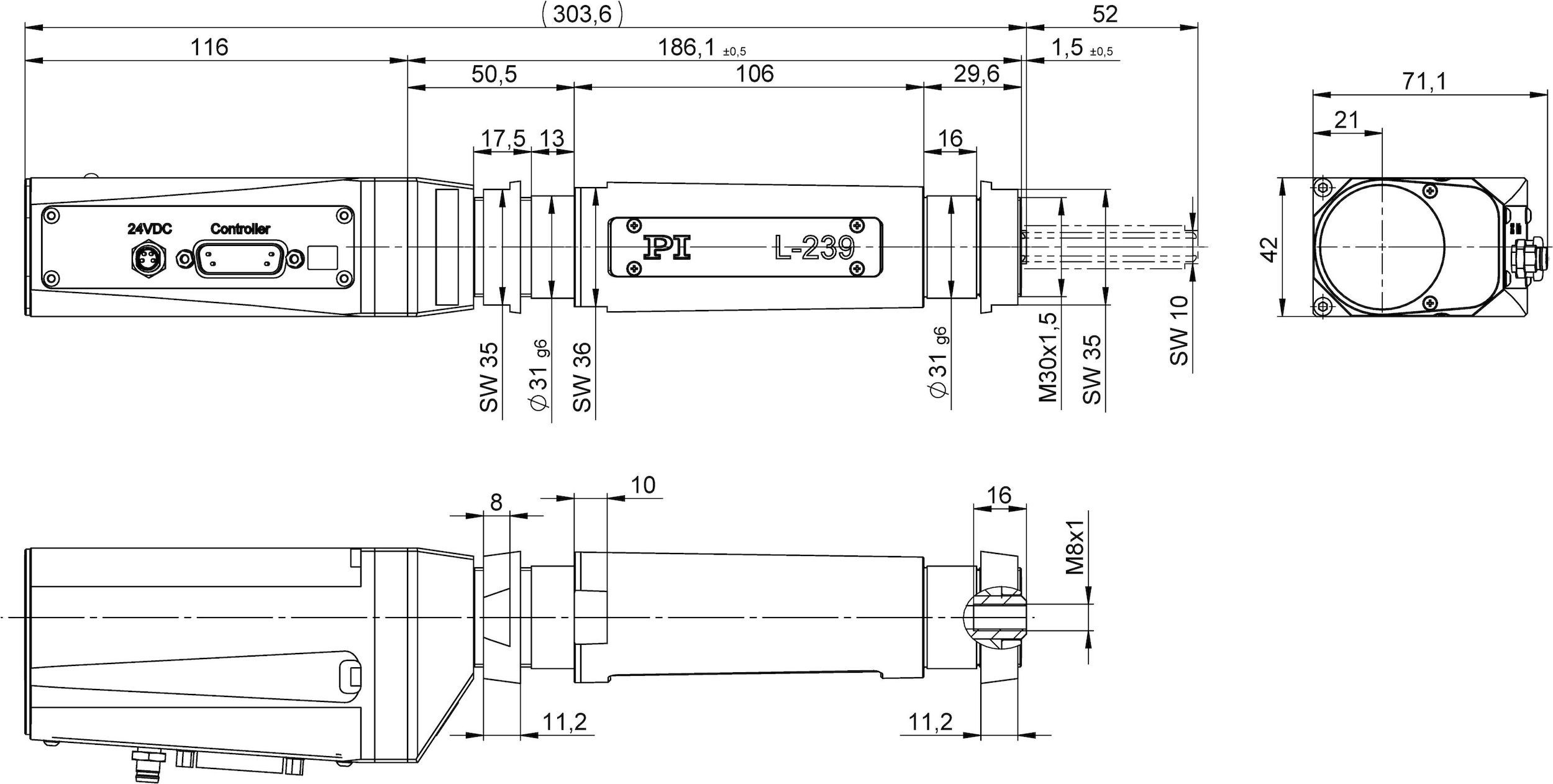 L 239 High Load Linear Actuator Stepper Motors Using This Circuit In Full Step Mode Through The Rs232 23950ad With Activedrive Dc Motor Dimensions Mm