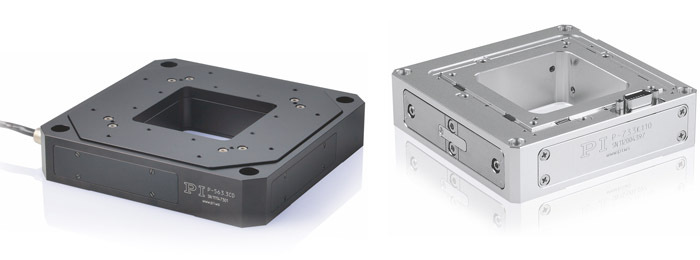Piezo-flexure based sample scanning stages deliver the dynamics and resolution required for high-resolution scanning microscopy.  (left) The PImars P-563 XYZ provides travel ranges to 300 µm with sub-nanometer resolution.  (right) A UHV compatible XYZ piezo scanning stage. (Image: PI)