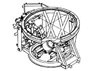 "Telescope structure with active secondary mirror (from ""Progress Report on DISCO: A Project for Image Stabilization at the 2.2 m Telescope,"" F. Maaswinkel, S. D'Odorico and G. Huster, ESO, F. Bortoletto, Istituto di Astronomia, University of Padova, Italy)."