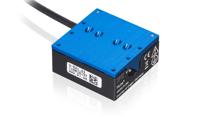 The U-521 miniature piezo-motor stage is designed for fast, quiet motion and positioning applications with high resolution and excellent step and settle behavior. Equipped with direct position feedback, two versions are offered, a lower-cost 0.4 micron linear encoder and 0.1 micron version for higher precision applications.