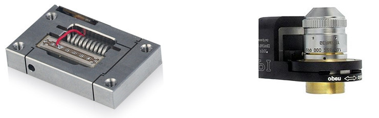 Piezo flexure amplified actuators in different customization levels, from low-cost OEM actuators suited to drive micro-pumps to complete closed-loop nano-focus positioning systems.
