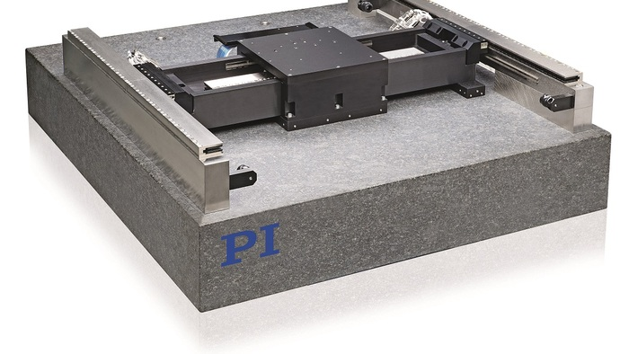 The PIglide HS planar air-bearing stage has been designed to maximize throughput while providing the ultimate level of precision. This stage is ideal for wafer inspection and scribing applications, as well as other ultra-precision motion applications such as flat panel inspection.  The cross-beam mounts to the Y axis via a highly engineered flexural coupling that provides yaw-compliance without sacrificing system stiffness. The gantry axis is a dual air-bearing design that incorporates dual linear motors and dual linear encoders. Ironless linear motors provide smooth motion and no cogging or attractive forces. Both incremental and absolute encoder options are available. The PIglide HS incorporates three high-accuracy linear encoders, one for the bridge axis and two for the gantry axis.   The PIglide HS is coupled with industry-leading digital controls that offer superior servo update rates (up to 5 kHz), advanced control algorithms to improve dynamic performance and error compensation, and a wide suite of software development tools.
