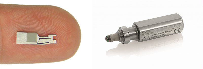 Piezo stick-slip mini motors are incredibly small as seen on the left. Designed into a drive, they can become an integral part with further size reduction possible. A standard miniature actuator with a high-force piezo inertia motor is shown on the right. (Image: PI)